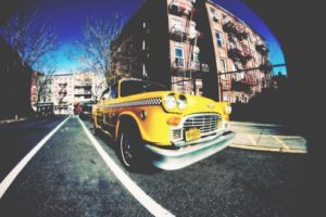 taxi on the street of Brooklyn