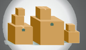 Cardboard boxes in different sizes.