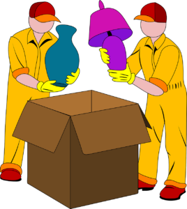 Movers packing things in a cardboard box.