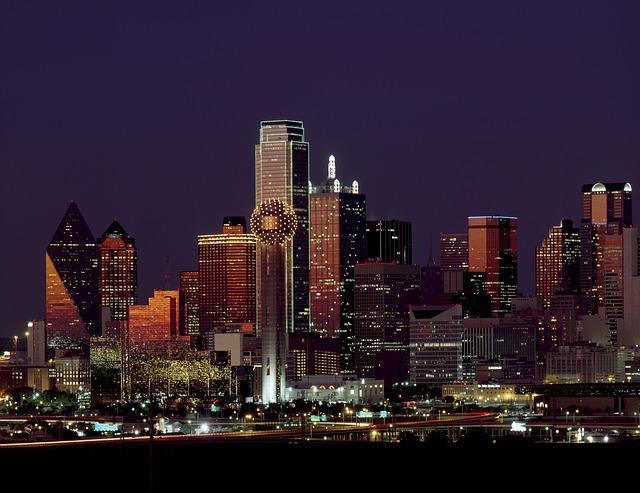 Dallas panorama at night