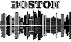 Black and white drawing of Boston cityscape and the word Boston written at the top.