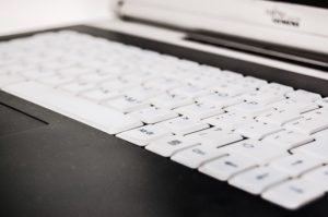 A keyboard on a desk before you pack and move IT equipment.