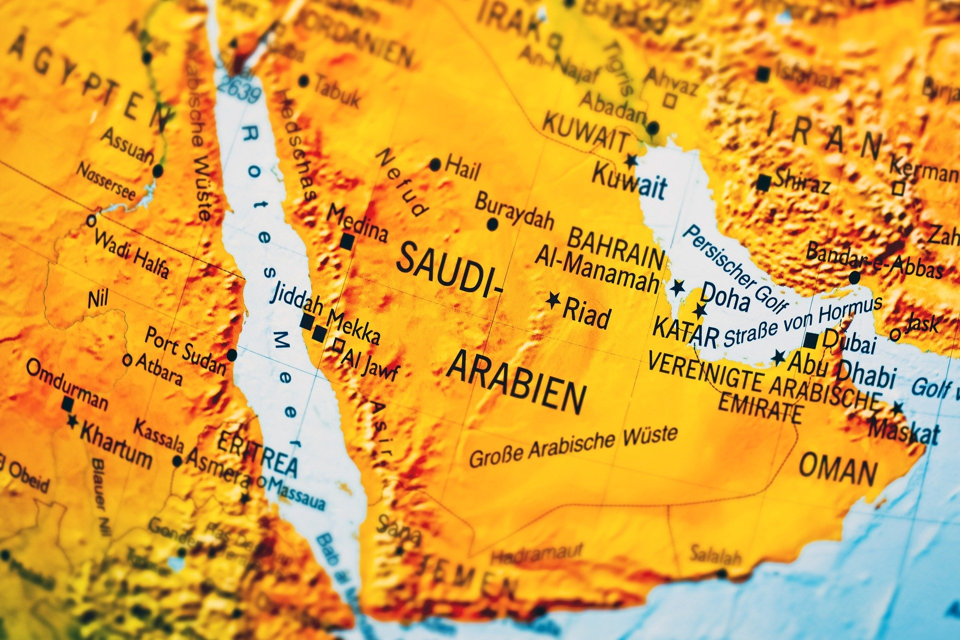 A map of Saudi Arabia.