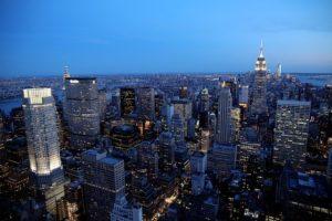 New York City at night.