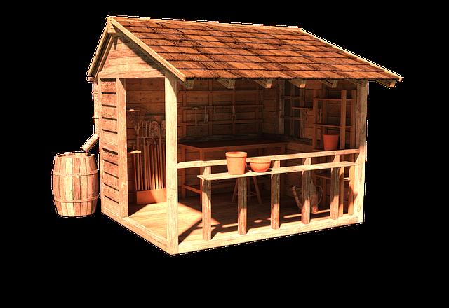 A wooden outbuilding.