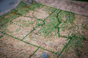 There is a map of the USA, and the state of Idaho is in the focus.