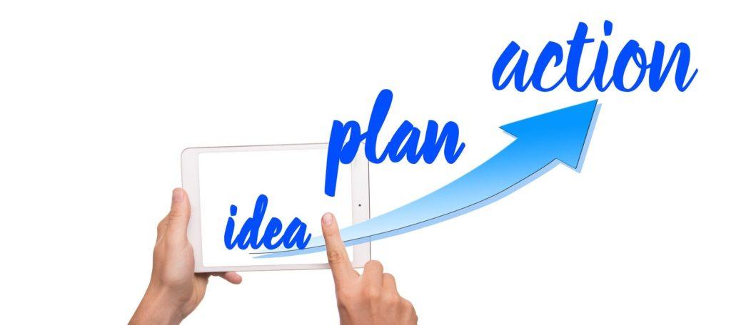 Idea, plan, action illustration.