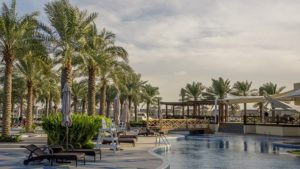 A pool and palm trees in Bahrain.