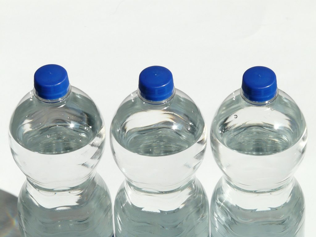 Bottles of water.
