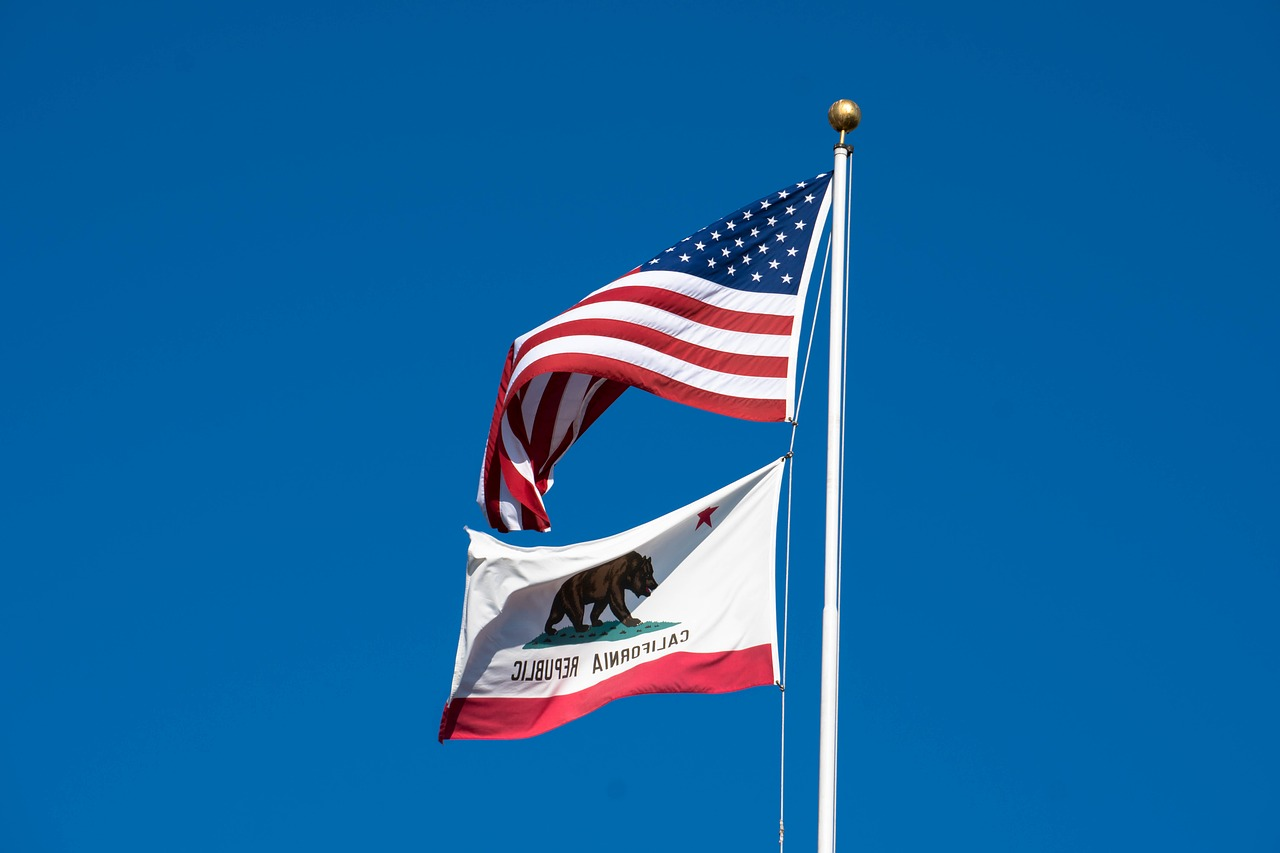 Flags of California and the USA.