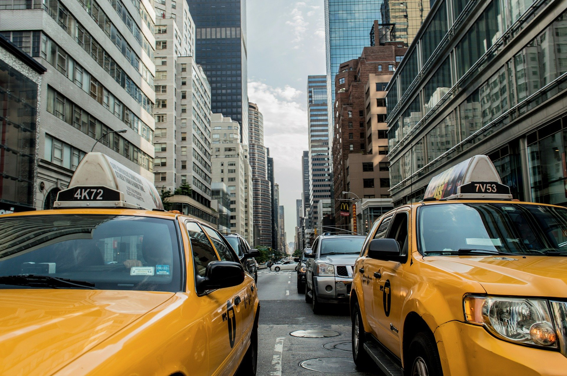 Yellow cabs in a street in NYC