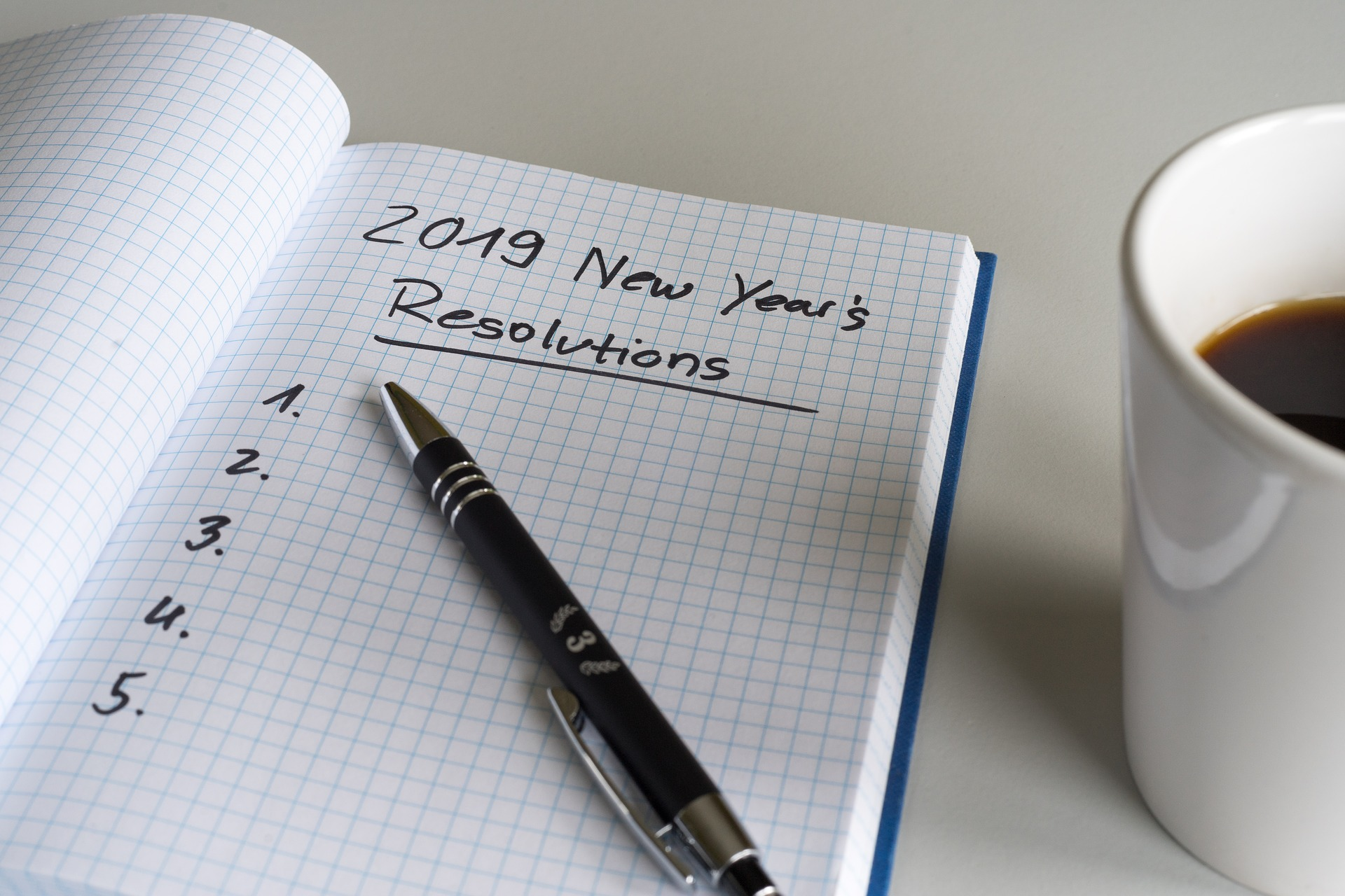 notebook with 2018 stick to your resolutions list