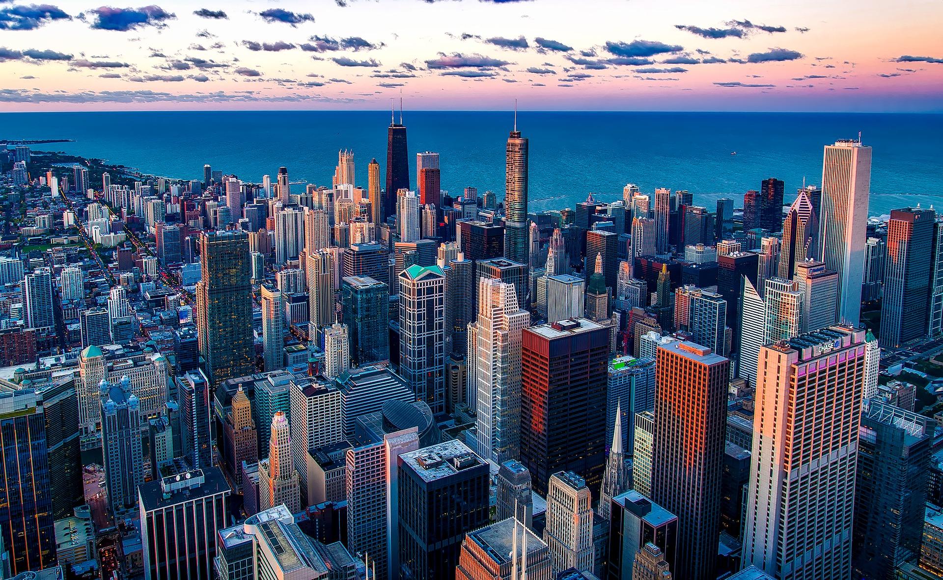 A Chicago skyline.