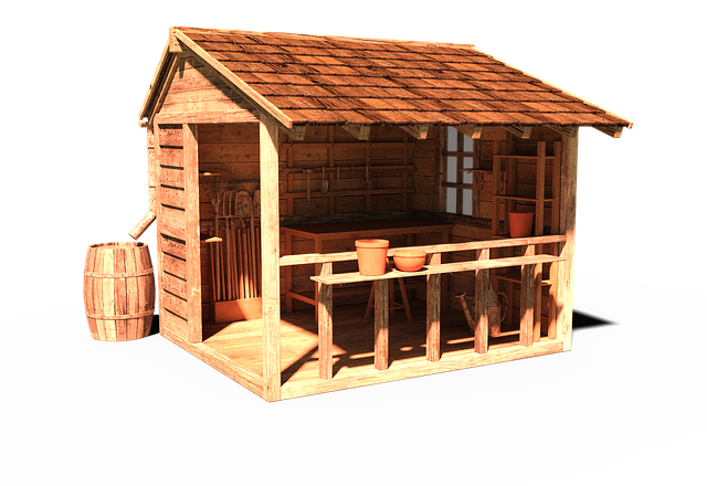 A wooden outbuilding.