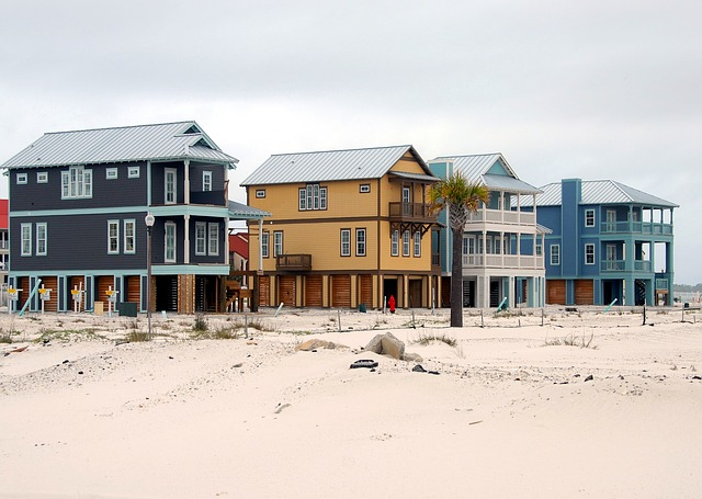 Homes on the beach in Florida.