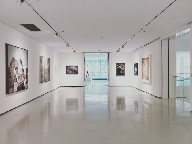 The interior of a gallery.