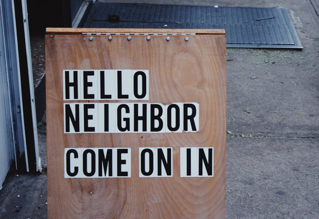 Hello noeighbor sign as one of the best Tips for getting to know your new neighbors
